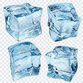 Set of four transparent ice cubes in blue colors. Vector illustrations. EPS10, JPG and AI10 are available