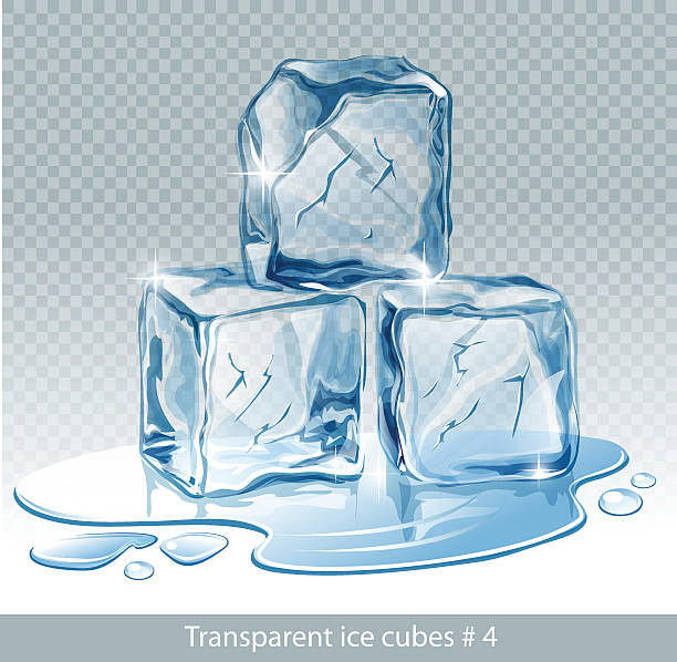 Transparent  blue vector ice cubes and water drops Transparent  blue vector ice cubes and water drops melting stock illustrations