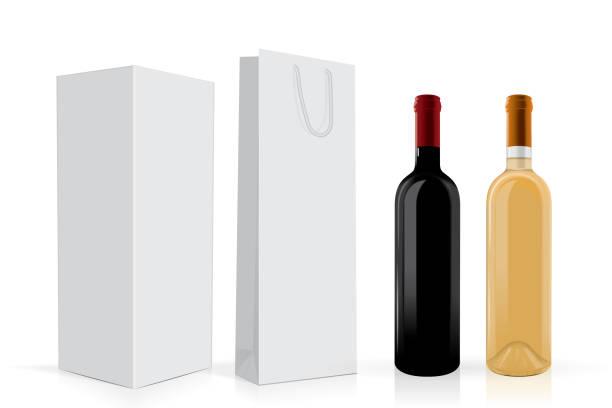 bildbanksillustrationer, clip art samt tecknat material och ikoner med genomskinliga flaskor vin - wine box