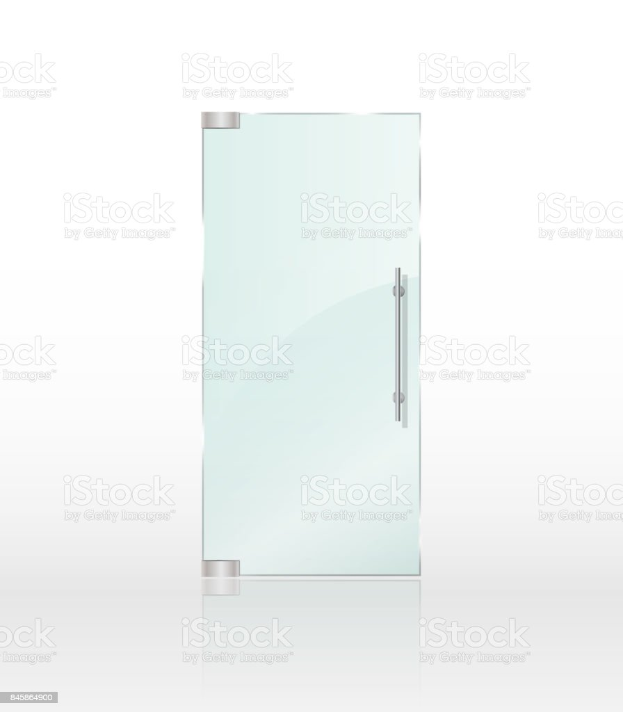 Transparent clear glass door isolated on white background. Entrance door for shop or boutique mockup. Vector illustration vector art illustration