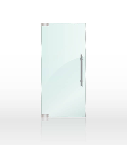 Transparent Clear Glass Door Isolated On White Background Entrance
