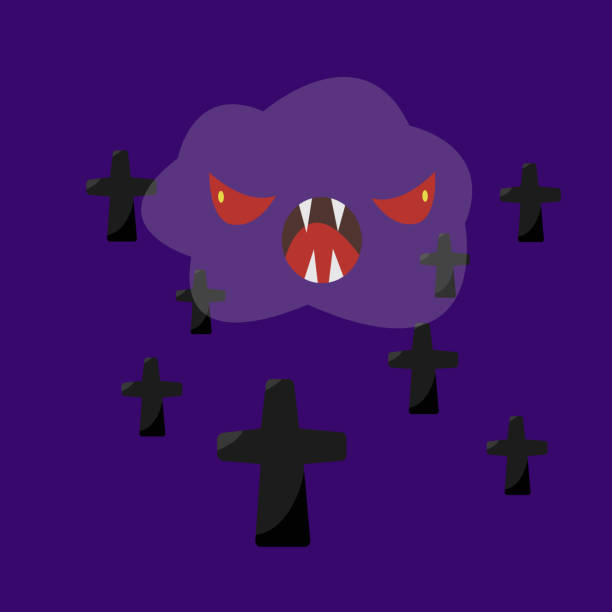 Transparent cloud Ghost with red eyes open mouth and sharp fangs vector art illustration