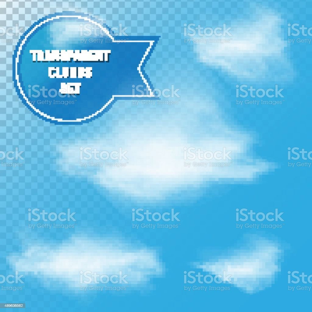 Transparent Clouds Set vector art illustration