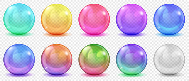 Transparent colored spheres with shadows Set of translucent colored spheres with glares and shadows on transparent background. Transparency only in vector format sphere stock illustrations