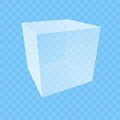 istock Transparent cube on blue checkered background 1320115896