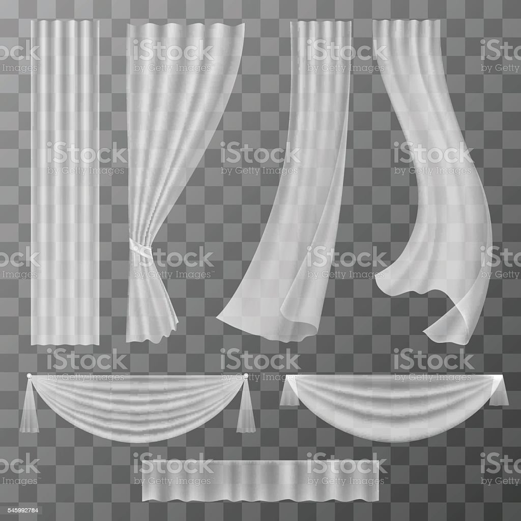 Transparent curtains set royalty-free transparent curtains set stock illustration - download image now