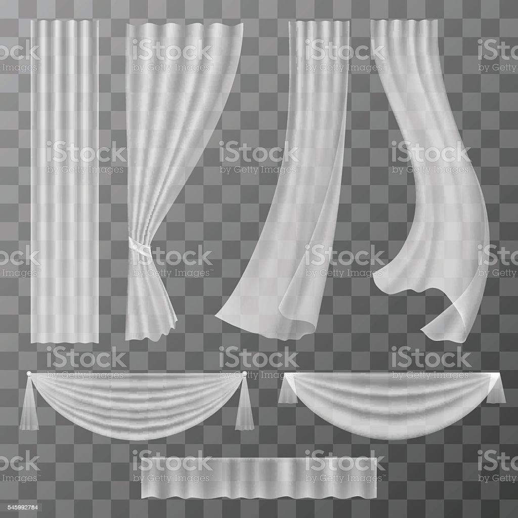 Transparent curtains set vector art illustration