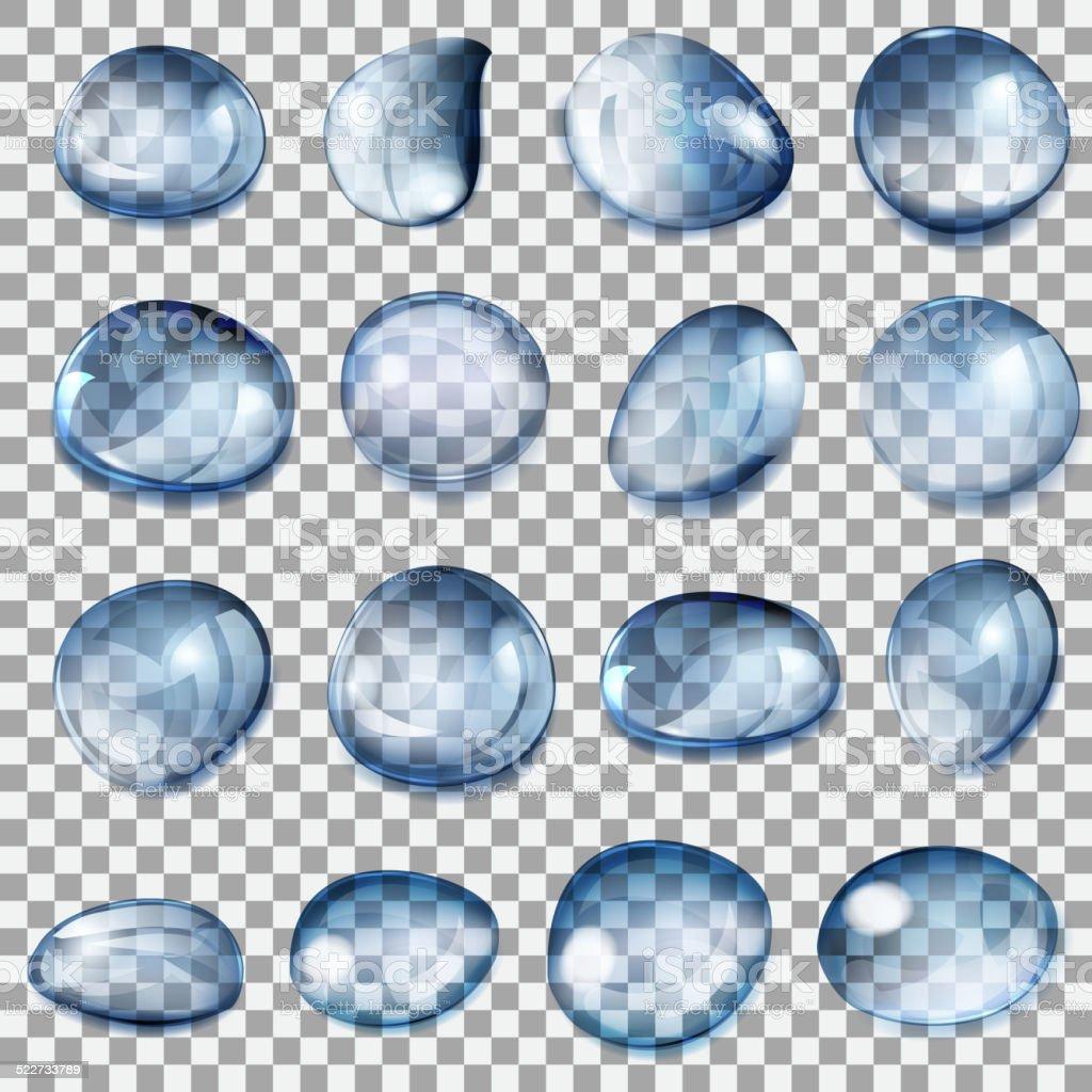 Transparent dark blue drops vector art illustration