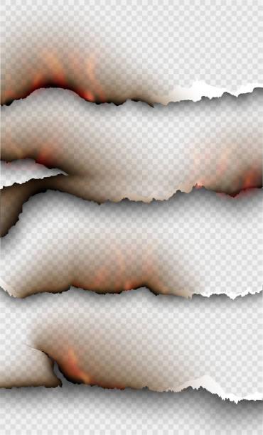 ilustrações de stock, clip art, desenhos animados e ícones de transparent design burning templates torn paper with fire - queimado