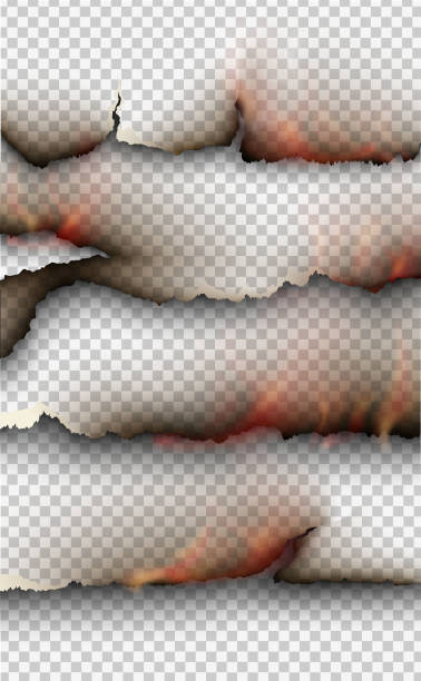 transparent design burning templates torn paper with fire - at the edge of stock illustrations