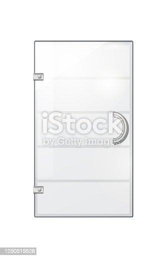 istock Transparent Door on Grey Checkered Background 1250515526