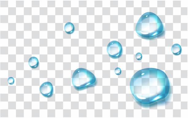 灰色の背景に分離された透明なドロップ - 水滴点のイラスト素材/クリップアート素材/マンガ素材/アイコン素材