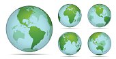 Vector illustration of transparent earth and water in different angles.