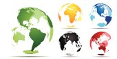Vector illustration of transparent earth with different angles and color.  Simple gradients used for easy editing.