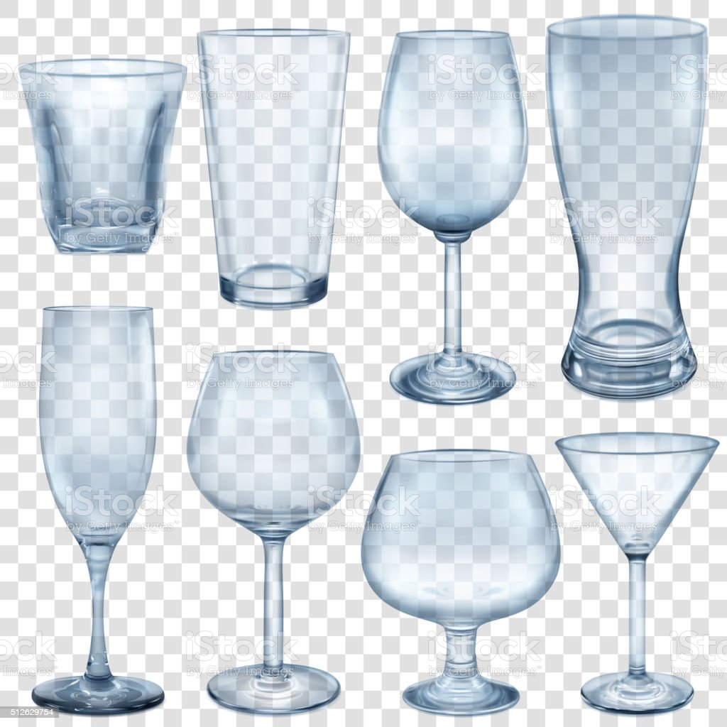 Transparent empty glasses and stemware vector art illustration