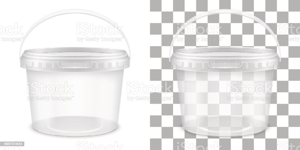 Transparent Empty Plastic Bucket For Storage Of Food Or Non Food Products.  Vector Packaging