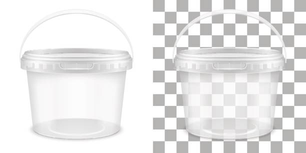Transparent empty plastic bucket for storage of food or non-food products. Vector packaging template illustration. vector art illustration