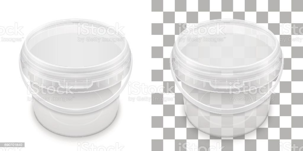 Transparent empty plastic bucket for storage. Vector packaging template illustration. vector art illustration