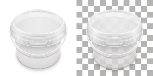 Transparent empty plastic bucket for storage. Vector packaging template illustration. vector art illustration