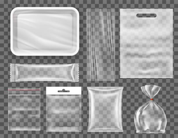 투명 한 빈 플라스틱 식품 포장 스낵 생산 이랑을 설정합니다. - 플라스틱 stock illustrations