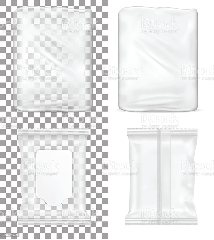Transparent empty plastic packaging and wet wipes package. vector art illustration