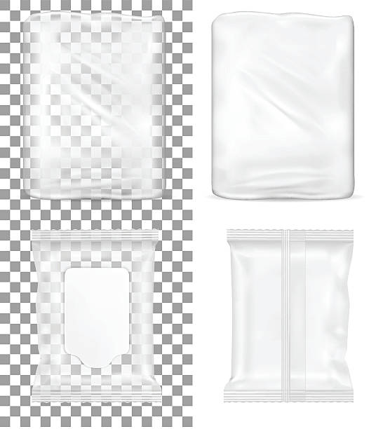 transparent empty plastic packaging and wet wipes package. - aluminum foil roll stock illustrations, clip art, cartoons, & icons