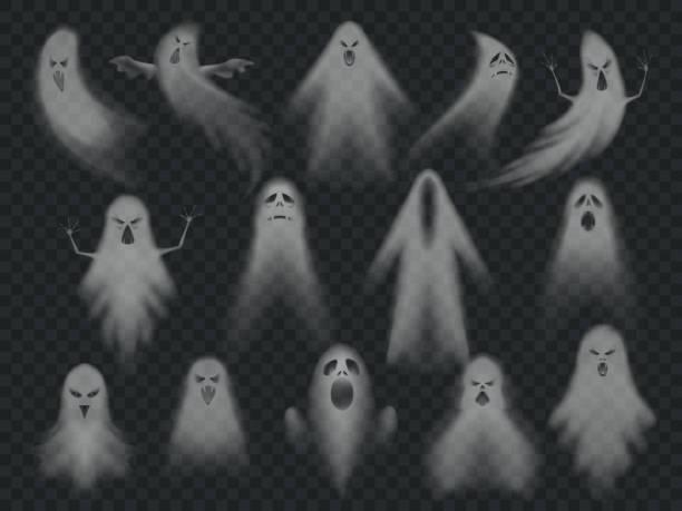 ilustraciones, imágenes clip art, dibujos animados e iconos de stock de fantasma transparente. fantasmas espeluznantes de terror, ghoul fantasmal de la noche de halloween. conjunto de ilustración vectorial fantasma miedo - aparición conceptos