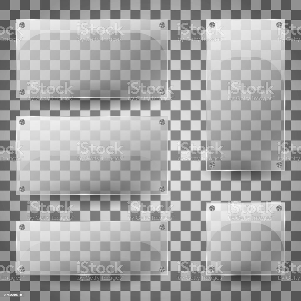 Transparent glass blank vertical and horizontal glossy empty banners on checkered background. Set of transparent glare glass plates. Vector Illustration vector art illustration