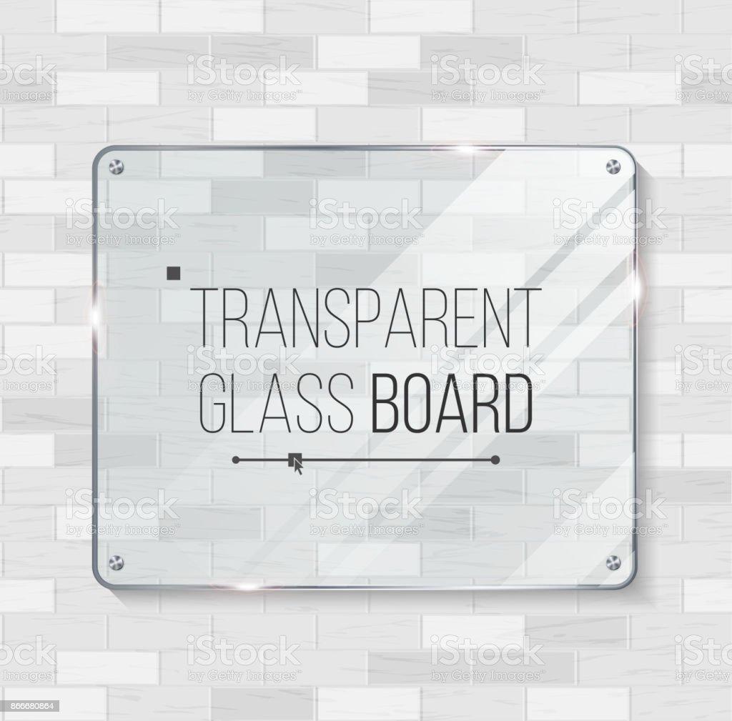 Vector de tablero de cristal transparente. Elemento decorativo de diseño gráfico. Plástico o vidrio marco de la plantilla. Ilustración - ilustración de arte vectorial