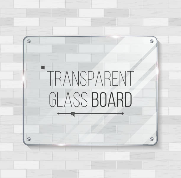 Transparent Glass Board Vector. Decorative Graphic Design Element. Plastic Or Glass Frame Template. Illustration vector art illustration