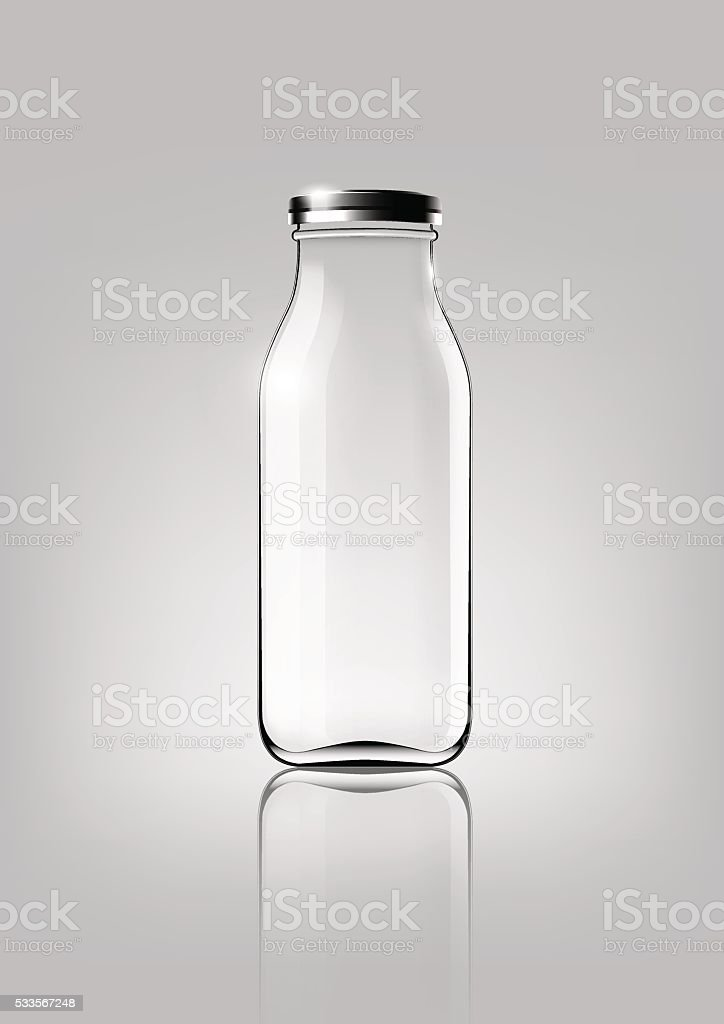 Frasco de vidrio transparente de diseño y Paquete para publicidad, Vector - ilustración de arte vectorial