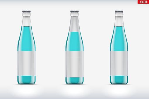 Transparent glass bottle set mockup