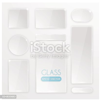 A big set of transparent glass buttons. All elements are separate. EPS10. Hi-Res jpeg included.