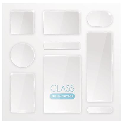 Transparent glass buttons set