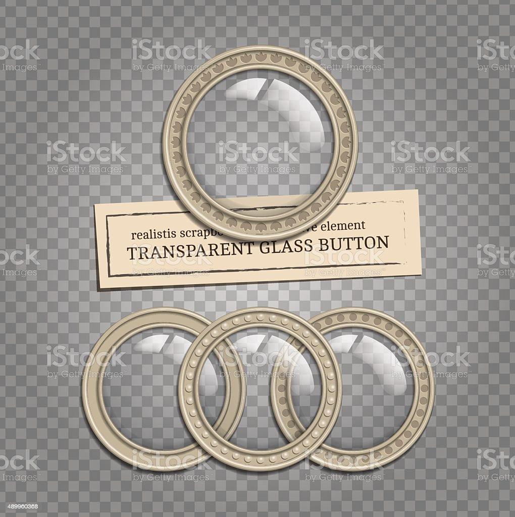 Transparent glass buttons vector art illustration