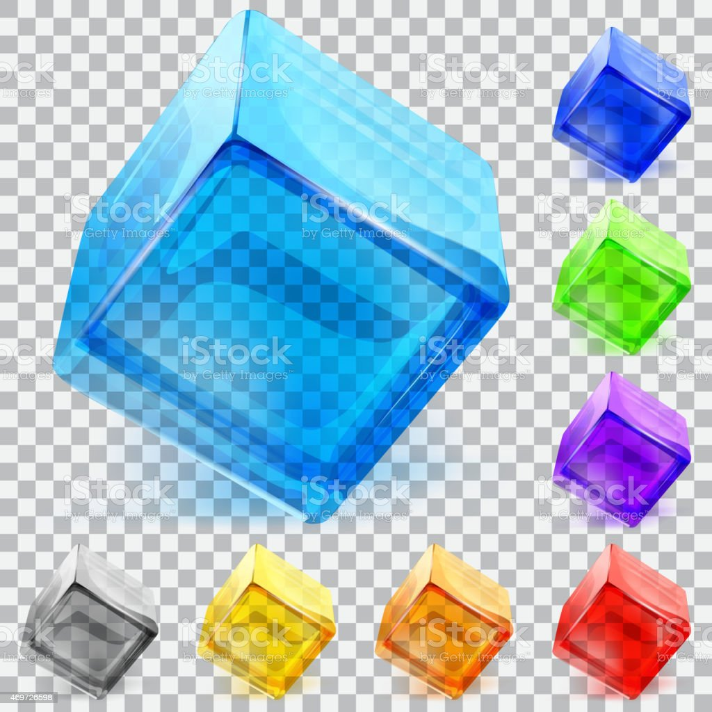 Transparent glass cubes vector art illustration