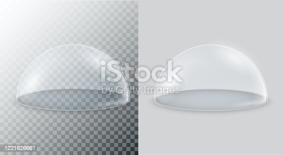 Transparent glass dome. Vector hemisphere isolated on a transparent and white background.