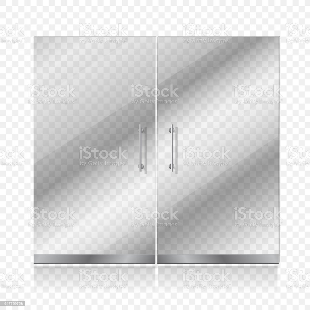 Transparent glass door isolated. Entrance passage mock up vector illustration vector art illustration