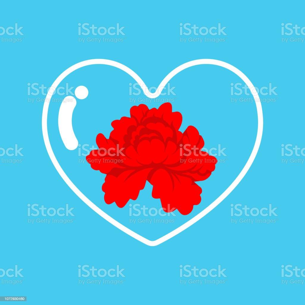 Transparent glass heart and flower inside. Love vessel