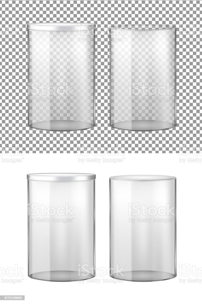 Transparent glass jar with metal lid vector art illustration