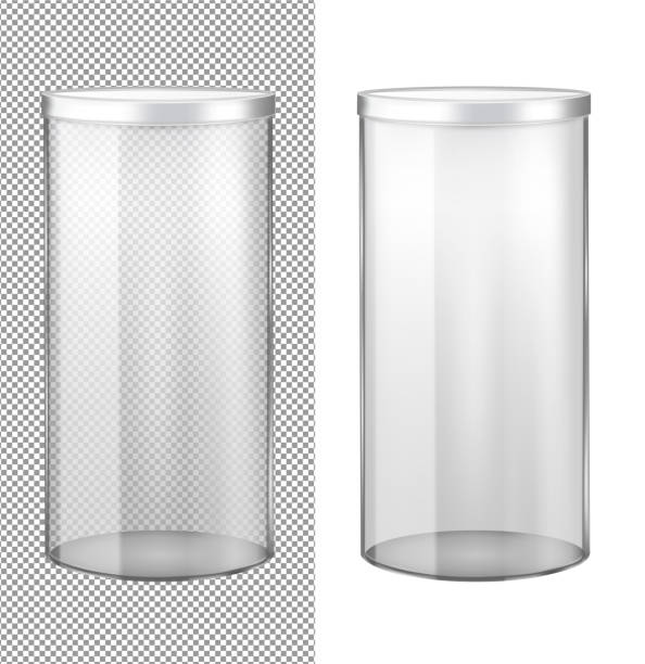 Transparent glass jar with metal lid Transparent glass jar with metal lid. cylinder stock illustrations