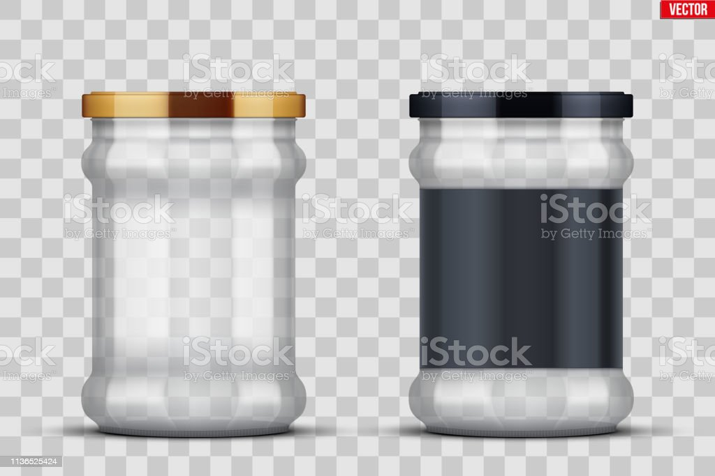 Set of Transparent Glass Jars with label for canning and preserving....