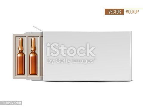 istock Transparent glass medical ampoules in white package 1262776768