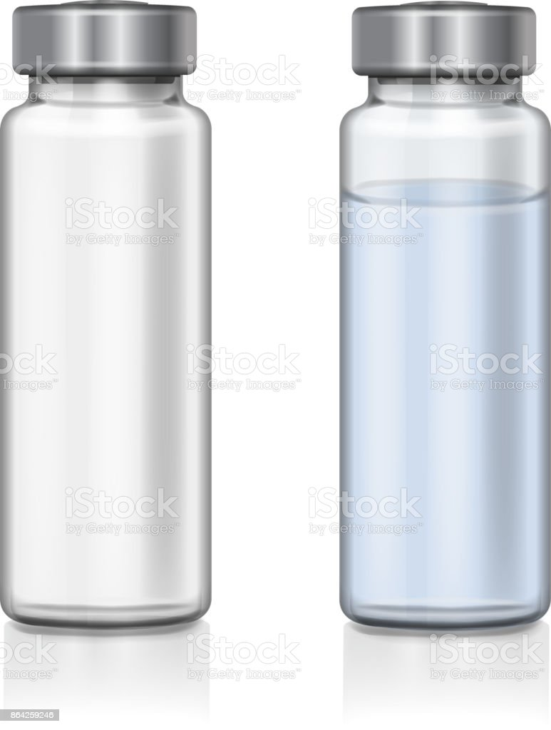 Transparent glass medical vial realistic 3d vector illustration vector art illustration