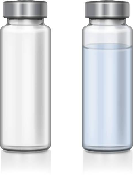bildbanksillustrationer, clip art samt tecknat material och ikoner med genomskinligt glas medicinsk injektionsflaska realistiska 3d vektorillustration - flaska