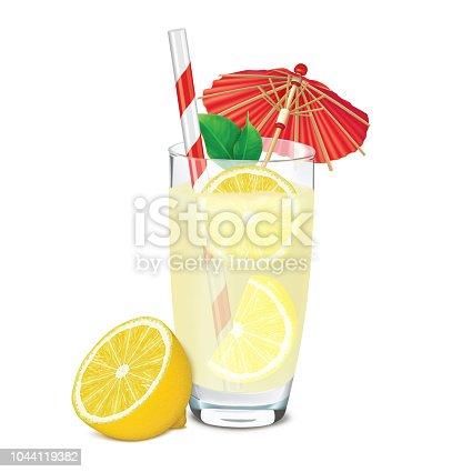Transparent glass of lemonade with lemons, leafs, umbrella and straw. 3D illustration