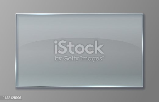 istock Transparent glass panel. Clear plastic sheet with glossy effect, isolated acrylic banner plate. Vector transparent sign 1152125995