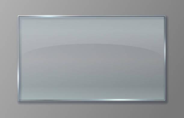 stockillustraties, clipart, cartoons en iconen met transparant glazen paneel. duidelijk plastic vel met glanzend effect, geïsoleerde acryl banner plaat. vector transparant teken - raam