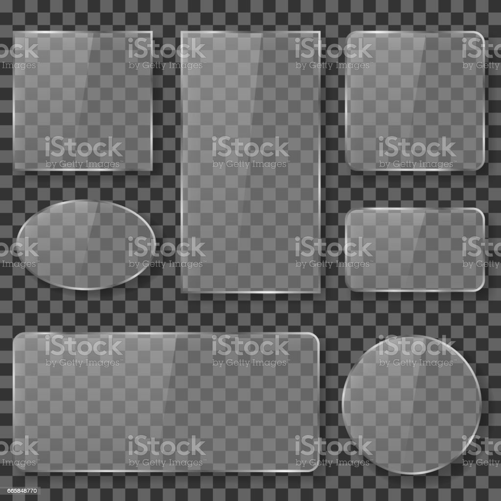 Transparent glass, plastic, acrylic plates banners vector stock vector art illustration