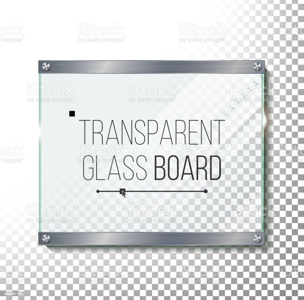 Ilustración de Vidrio Transparente Placa Mock Up Vector Panel De ...